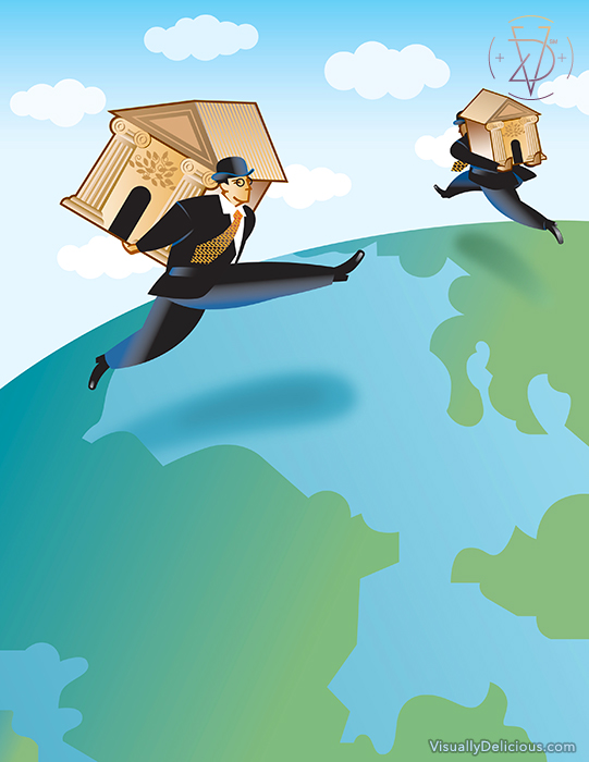 Illustration used for banking conference theme.