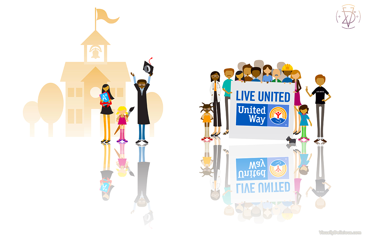 United Way LIVE UNITED Campaign Characters